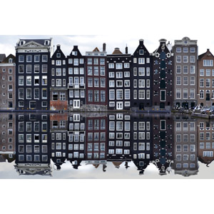 フリー写真, 風景, 建造物, 建築物, 街並み(町並み), 運河, 鏡面, オランダの風景, アムステルダム