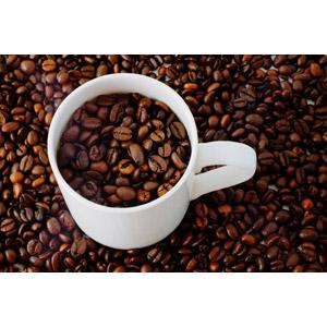 フリー写真, マグカップ, コーヒー豆, コーヒー(珈琲)