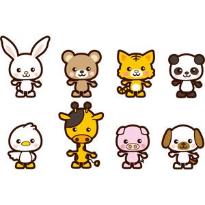 フリーイラスト, ベクター画像, AI, 動物, 哺乳類, 兎(ウサギ), 熊(クマ), 虎(トラ), ジャイアントパンダ, 鳥類, アヒル, キリン, 豚(ブタ), 犬(イヌ)