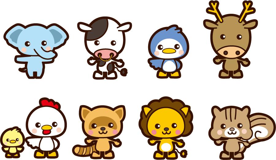 フリーイラスト ぞうやうしなどの8種類の動物のセット