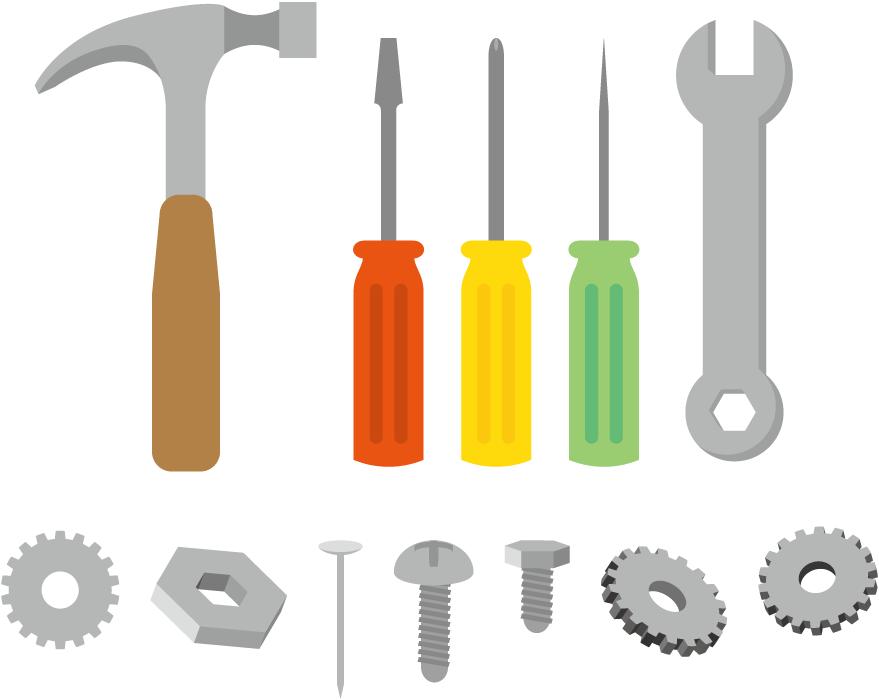 フリーイラスト 10種類の工具と機械要素のセット