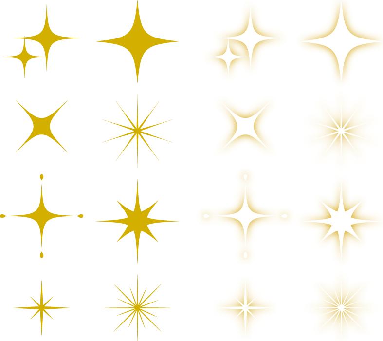 フリーイラスト 16種類のキラキラ輝く光のセット