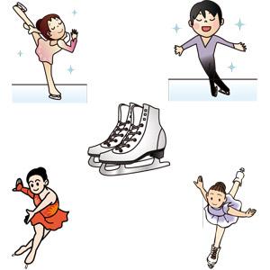 フリーイラスト, ベクター画像, AI, スポーツ, ウィンタースポーツ, フィギュアスケート, 冬, 人物, 男性, 女性, スケート靴