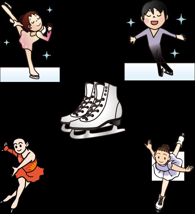 フリーイラスト 5種類のフィギュアスケートとスケート靴のセット