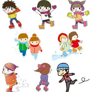 フリーイラスト, ベクター画像, AI, スポーツ, ウィンタースポーツ, アイススケート, 冬, 人物, 子供, 男の子, 女の子