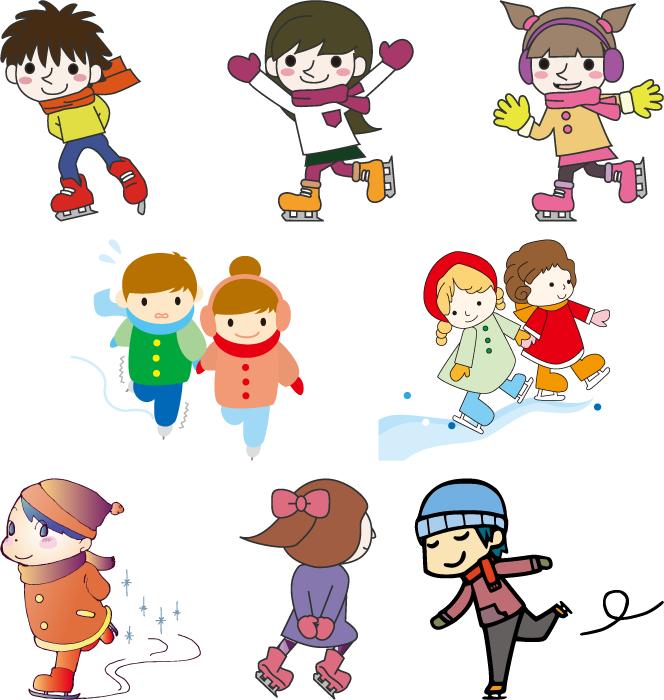 フリーイラスト 8種類のアイススケートのセット