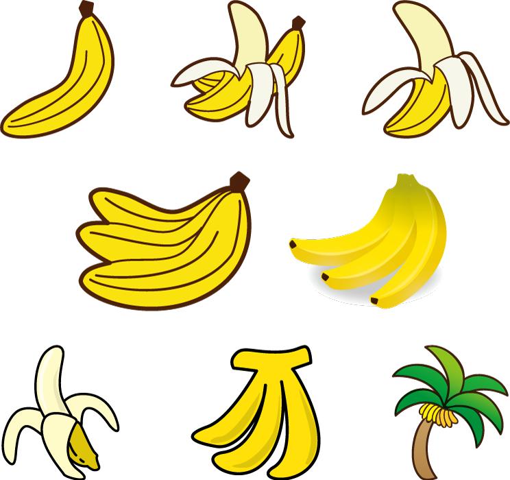 フリーイラスト 8種類のバナナのセット