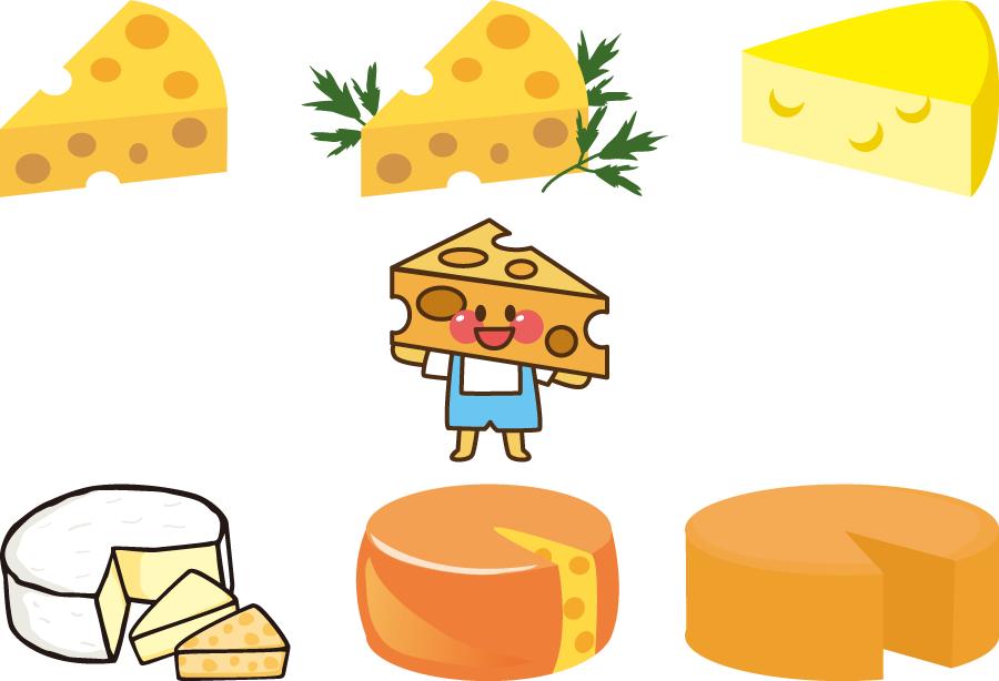 フリーイラスト 7種類のチーズのセット