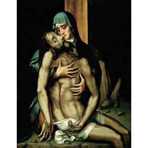 フリー絵画, ルイス・デ・モラレス, 宗教画, キリスト教, 新約聖書, イエス・キリスト, 聖母マリア, ピエタ, 死, 泣く(泣き顔), 悲しい, 二人