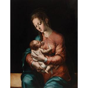 フリー絵画, ルイス・デ・モラレス, 宗教画, キリスト教, 新約聖書, イエス・キリスト, 聖母マリア, 聖母子, 親子, 母親(お母さん), 赤ちゃん, 二人