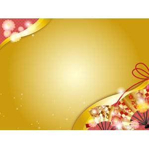 フリーイラスト, ベクター画像, AI, 背景, 年中行事, 和柄, 正月, 年賀状, 1月, 扇子, 金色(ゴールド)
