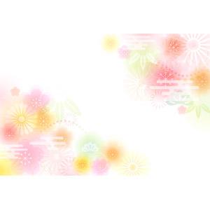 フリーイラスト, ベクター画像, AI, 背景, 年中行事, 正月, 年賀状, 1月, 花柄, 梅(ウメ), 菊(キク), 和柄