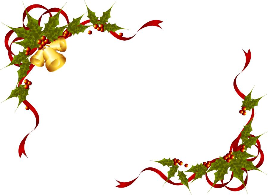 フリーイラスト クリスマスベルとセイヨウヒイラギとリボンの飾り枠