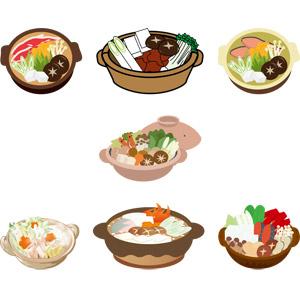 フリーイラスト, ベクター画像, AI, 食べ物(食料), 料理, 鍋料理, 土鍋, 冬, 日本料理