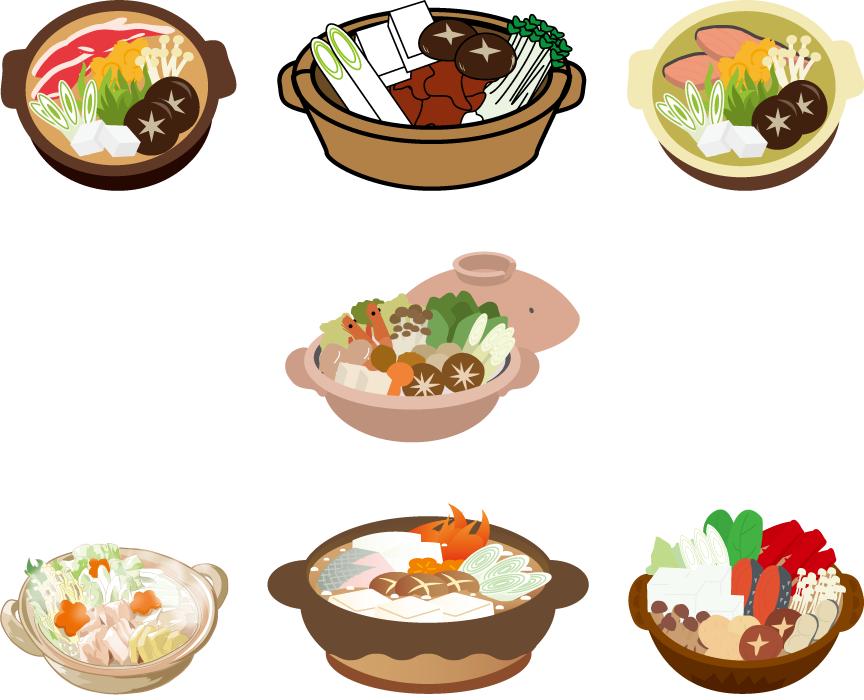 フリーイラスト 7種類の鍋料理のセット
