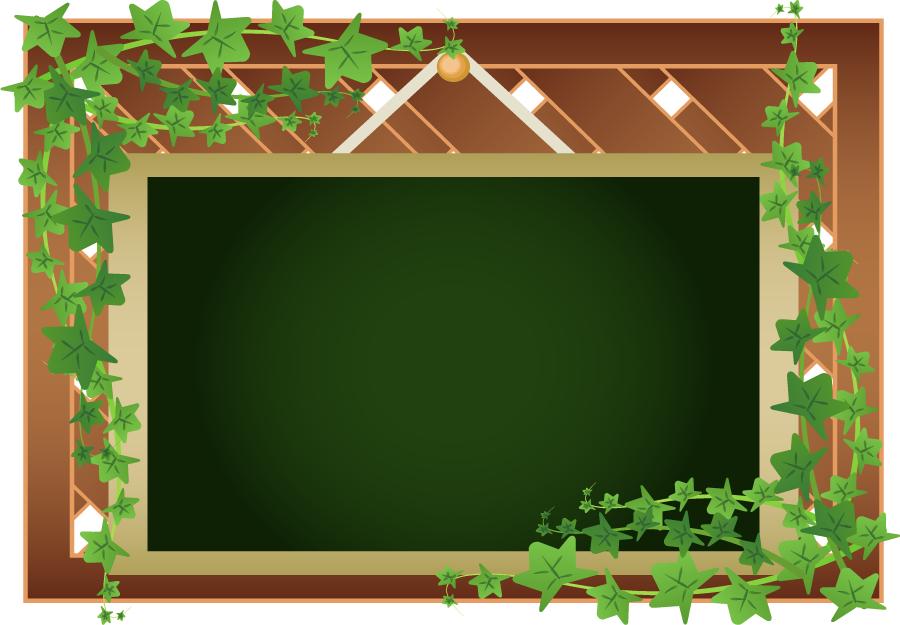 フリーイラスト 蔦と黒板の飾り枠