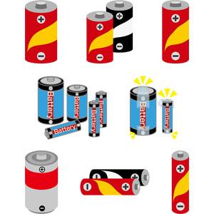 フリーイラスト, ベクター画像, AI, 乾電池, 防災グッズ, 電池(バッテリー)