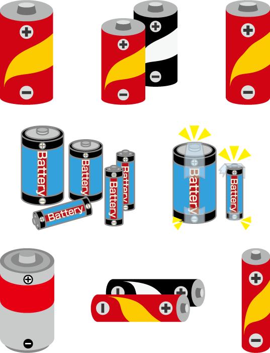フリーイラスト 8種類の乾電池のセット