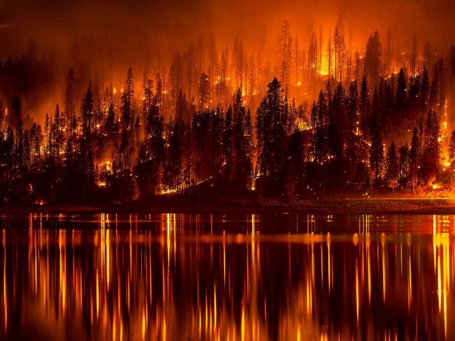 フリー写真 カリフォルニア州の山火事の風景