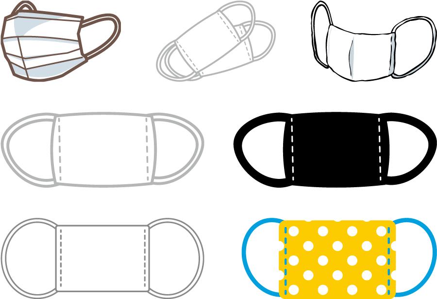フリーイラスト 7種類の衛生マスクのセット