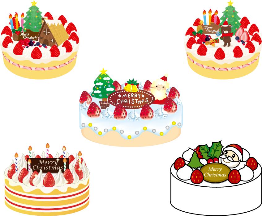 フリーイラスト 5種類のクリスマスケーキのセット
