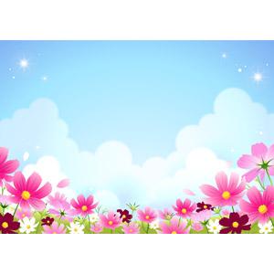 フリーイラスト, ベクター画像, EPS, 風景, 自然, 青空, 植物, 花, 花畑, コスモス(秋桜), 雲