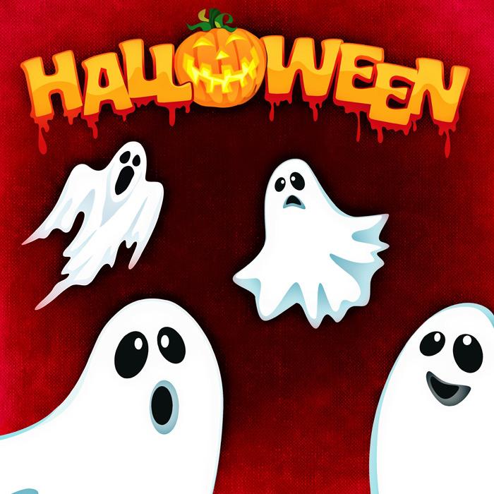 フリーイラスト 漂う幽霊のハロウィン背景