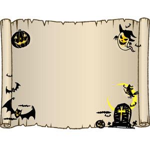 フリーイラスト, ベクター画像, AI, 背景, フレーム, 囲みフレーム, 年中行事, ハロウィン(ハロウィーン), 10月, お墓, 魔女, コウモリ, ジャック・オー・ランタン, 幽霊(お化け), 古紙, 巻物