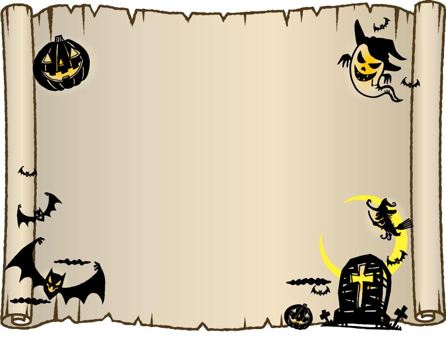 フリーイラスト 巻物とハロウィンの飾り枠