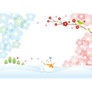 フリーイラスト, ベクター画像, AI, 背景, 冬, 春, 雪だるま, 猫(ネコ), 梅(ウメ), 雪