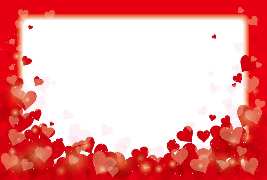 フリーイラスト 赤色のハートの囲みフレーム