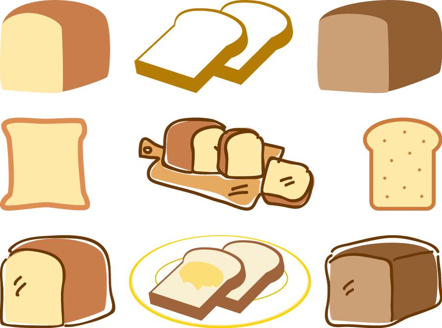フリーイラスト 9種類の食パンのセット