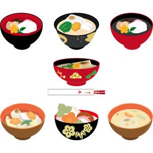 フリーイラスト, ベクター画像, AI, 食べ物(食料), 料理, 汁物, お雑煮, 餅(もち), 年中行事, 正月, 1月, 日本料理, 和食