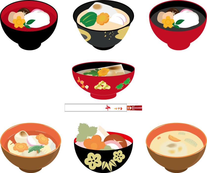 フリーイラスト 7種類のお雑煮のセット