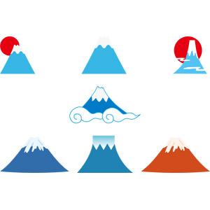 フリーイラスト, ベクター画像, AI, 自然, 山, 富士山, 日本の風景, 世界遺産, 初日の出, 正月, 1月, 赤富士