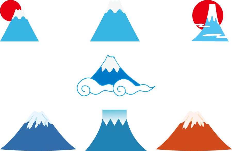 フリーイラスト 7種類の富士山のセット