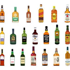 フリーイラスト, ベクター画像, AI, 飲み物(飲料), お酒, ウイスキー, 瓶(ボトル)