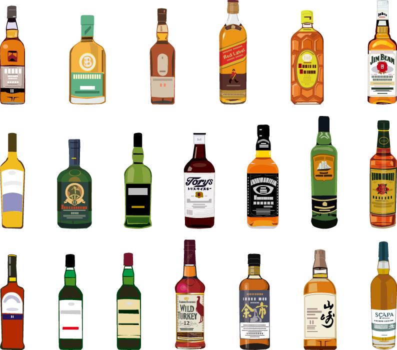 フリーイラスト 20種類のウイスキーのセット