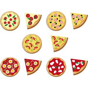フリーイラスト, ベクター画像, AI, 食べ物(食料), 料理, ピザ, イタリア料理, ファーストフード, パン, チーズ料理