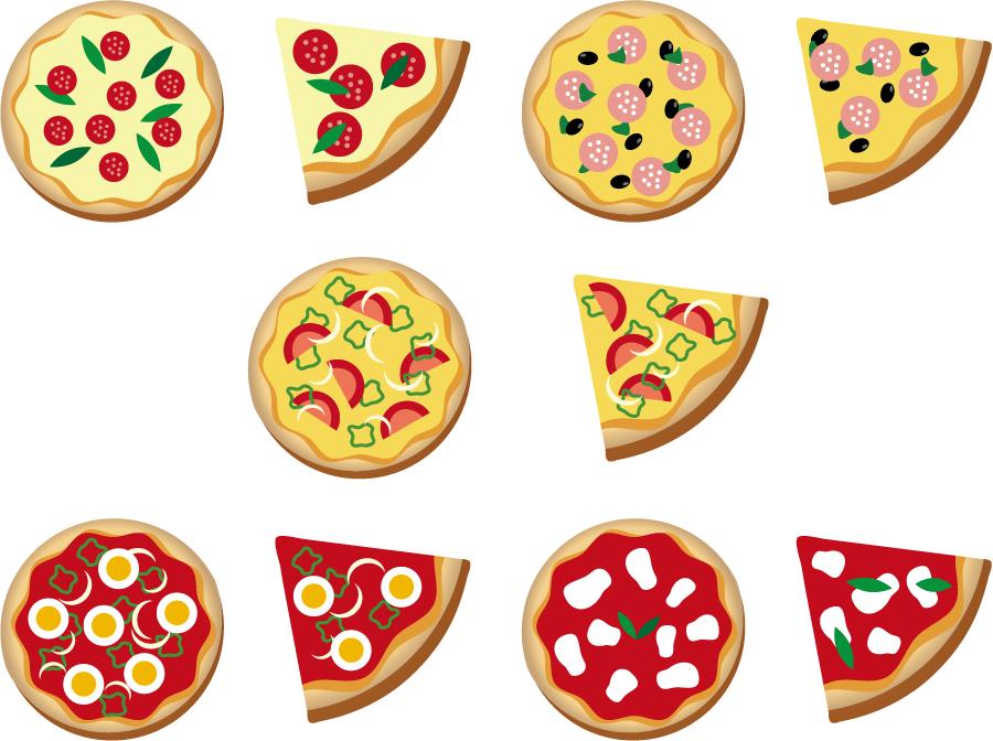 フリーイラスト 10種類のピザのセット