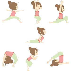 フリーイラスト, ベクター画像, AI, 人物, 女性, 運動, ヨガ, 体操, ストレッチ, ブリッジ(運動), 体を反る