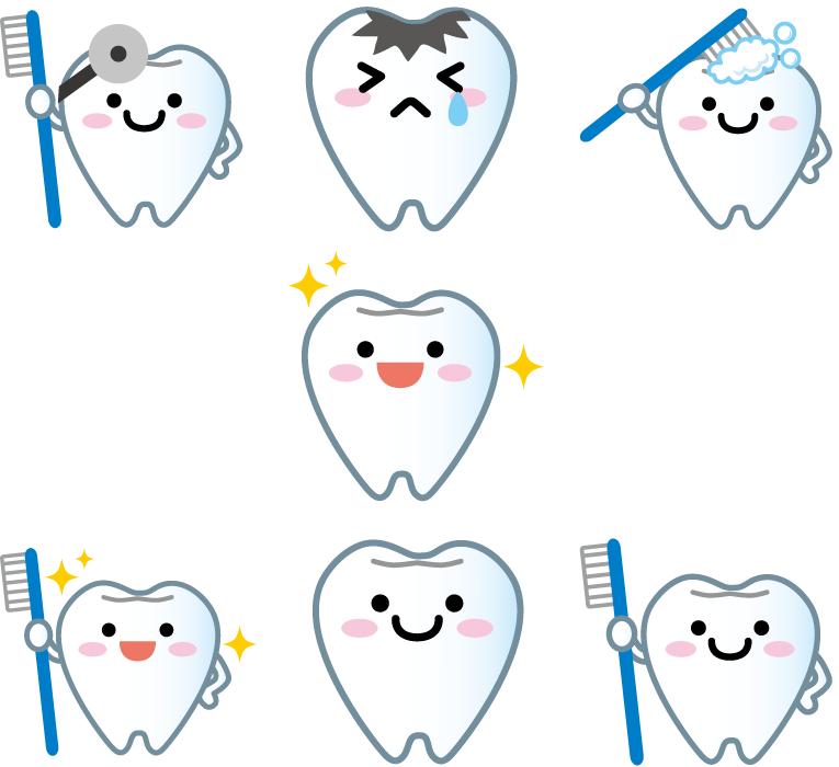フリーイラスト 7種類の歯のマスコットキャラクターのセット
