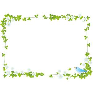 フリーイラスト, ベクター画像, AI, 背景, フレーム, 囲みフレーム, 植物, 蔦(ツタ), 小鳥, 青い鳥, 動物, 鳥類, 鳥(トリ), 花