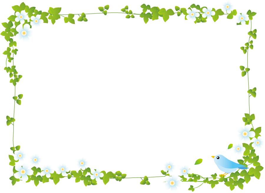 フリーイラスト 蔦と青い鳥のフレーム