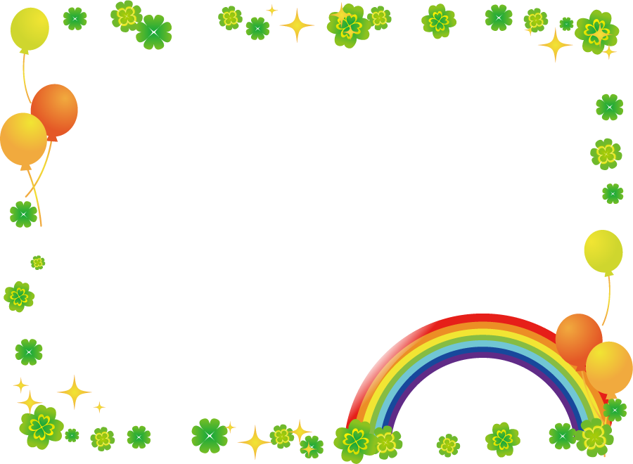 フリーイラスト 虹と風船と四つ葉のクローバーの飾り枠