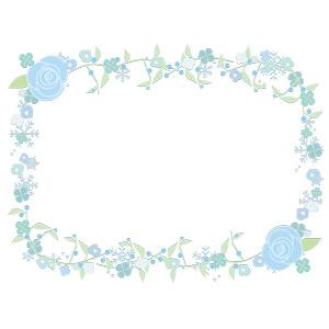 フリーイラスト, ベクター画像, AI, 背景, フレーム, 囲みフレーム, 植物, 花, 薔薇(バラ), クローバー(シロツメクサ), 四つ葉のクローバー, 雪の結晶
