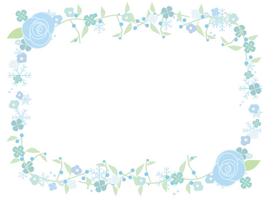 フリーイラスト 雪の結晶と花の飾り枠