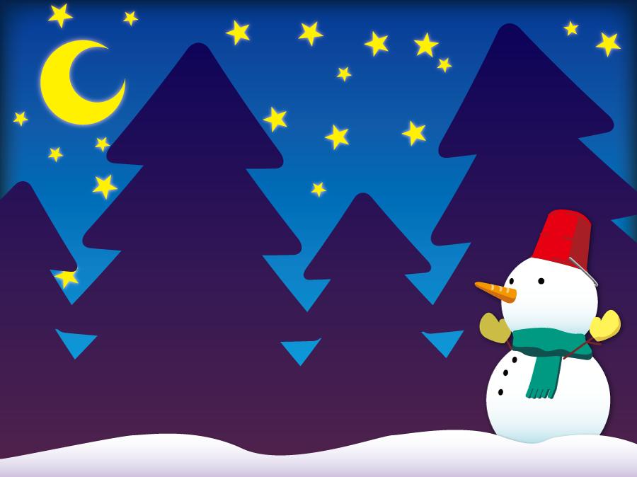 フリーイラスト 雪だるまと星空の風景