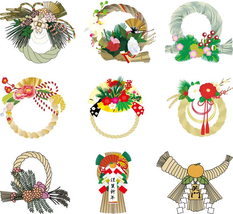 フリーイラスト 9種類の注連飾りのセット
