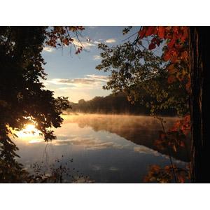 フリー写真, 風景, 自然, 湖, 霧(霞), 朝日, 樹木, 紅葉(黄葉), 秋, アメリカの風景, ペンシルベニア州